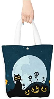 Foldable Shopping Bag Halloween Decorations Collection Cute Cat Under Moon on Floral Field with Starry Night Sky Shooting Star Cartoon Blue Black (W15.75 x L17.71 Inch)