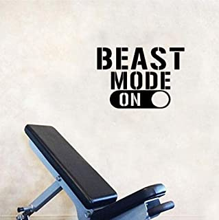 Wangjru Fitness Sport Exercises Wall Sticker Inspirational Quotes Beast Mode On Wall Decals For Gym Room Boys Room Decoration