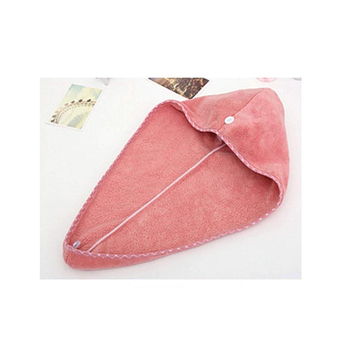 モネ再撮り完璧HENGTONGTONGXUN シャワーキャップ、乾いた髪のキャップの女性、吸収性と速乾性のヘアタオル、包頭、ロングヘアかわいいシャワーキャップ、63 * 25 cm(平らにされた) (Color : Pink)