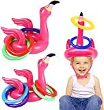 Camlinbo 3 Pack Inflatable Flamingo Pool Ring Toss Pool Game Toys, Swimming Pool Toys Hawaiian Luau Beach Toys Carnival Outdoor Water Floats Pool Games for Kids Adults Family (3 Flamingo,12 Rings)