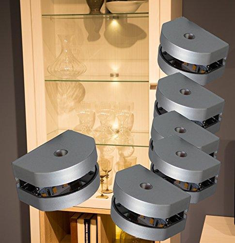 Preisvergleich Produktbild LED 3 Seiten Glaskantenbeleuchtung 6-er Set Clip / Mod.2295-6 / Glasbodenbeleuchtung Vitrinenleuchte Schrankbeleuchtung warmweiß Komplettset