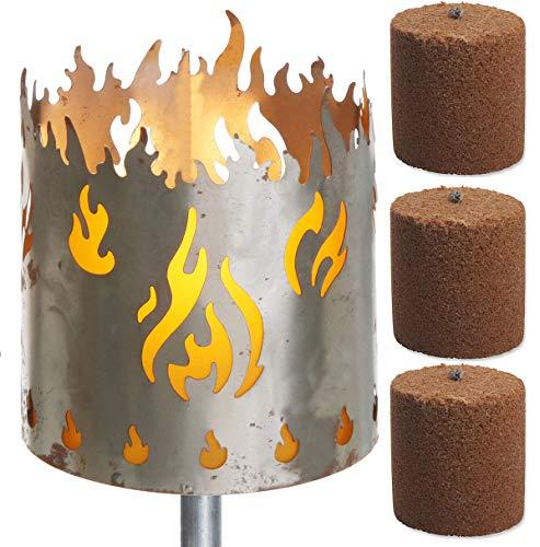 Novaliv Gartenfackel Feuer Feuerschale Metall mit Stiel und 3xBrennmittel