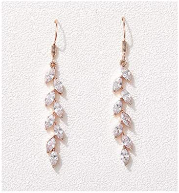 SWEETV Rose Gold Marquise Wedding Dangle Earrings for Brides Birdesmaid Crystal Long Bridal product image