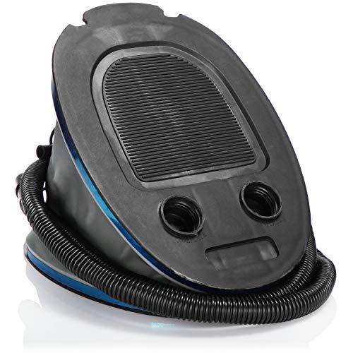 com-four® Fußluftpumpe mit 2 Luft-Düsen, Luftpumpe mit 5 Liter Volumen, zum Aufblasen und Absaugen von Matratzen und Aufblasobjekten
