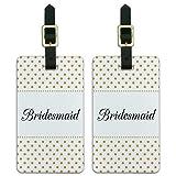 Bridesmaid Wedding Elegant Polka Dots Luggage ID Tags Carry-On Cards - Set of 2
