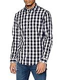 JACK & JONES Herren Jjegingham Shirt L/S Freizeithemd, Mehrfarbig (White Checks:mixed Navy), M EU