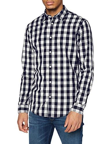 JACK & JONES Jjegingham Shirt L/s Camisa, Multicolor (White Checks:Mixed Navy), X-Small para Hombre