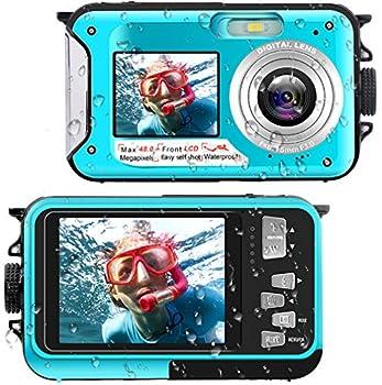 Waterproof Digital Camera Underwater Camera Full HD 2.7K 48 MP Video Recorder Selfie Dual Screens 16X Digital Zoom Flashlight Waterproof Camera for Snorkeling  DV806