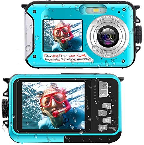 Waterproof Digital Camera Underwater Camera Full HD 27K 48 MP Video Recorder Selfie Dual Screens 16X Digital Zoom Flashlight Waterproof Camera for Snorkeling