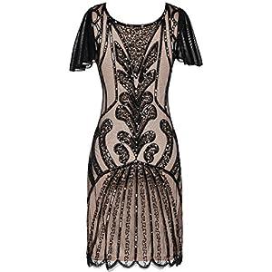PrettyGuide Women's Flapper Dress 1920s Vintage Bead Deco Inspired Cocktail Gatsby Dress L Black beige
