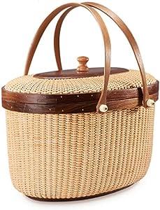 ZXY-NAN Rattan Picnic Basket Shopping Basket Storage Basket Storage Box with Lid Double Handle Delicate Woven Storage Basket Crafts 16.5 30.5cm Storage Chests Furniture