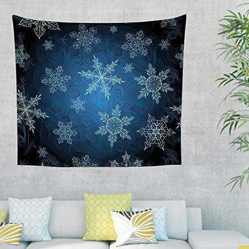 Preisvergleich Produktbild O4EC2-8 Weihnachten Muster Tapisserie Mode Exklusiv Wall Hanging - Dunkle Marine White 100x150cm