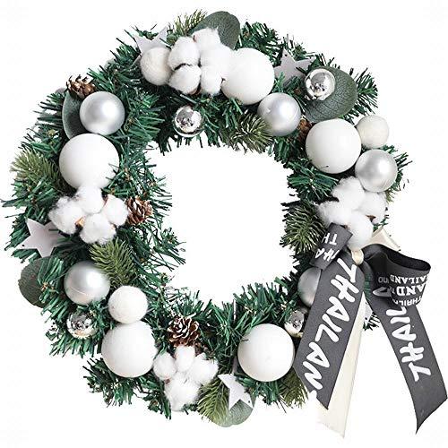 Sfqhc Türkranz Weihnachten 30Cm Weihnachtskranz Tür Hängen Restaurant Hotel Tür Rattan Ornamente Weihnachtsschmuck-Mit Lichtquelle_30Cm