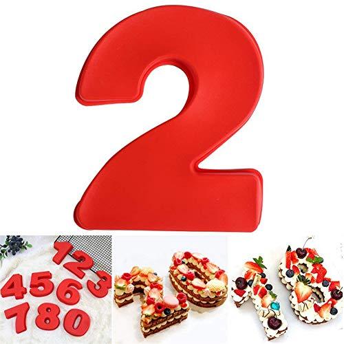 DUBENS Große Anzahl 0-9 Kuchenform Backen Jubiläum, Zahl Geburtstag Hochzeit Jahrestag Kuchen Dose, Silikon Nummern Backform Zahlen Silikonform Ziffer Kasten (2)
