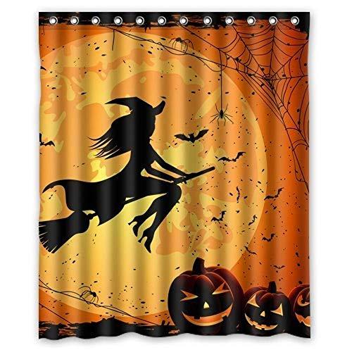JOOCAR Design Duschvorhang, orangefarbener Mond, Hexe, fliegende & Kürbis-Kopf, wasserdichter Stoff, Badezimmerdekor-Set mit Haken