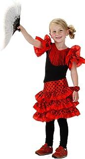 Folat 21828 Spanisch Flamenco-Kleid für Mädchen, Größe 116-134, Medium, rot