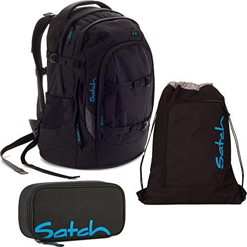 Satch by Ergobag Black Bounce 3-teiliges Set Rucksack, Schlamperbox & Sportbeutel