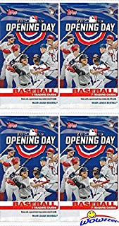 2019 Topps Opening Day MLB Baseball Collection of FOUR(4) Factory Sealed HOBBY Packs with 28 Cards! EVERY Pack Includes 1 Insert! Look for Autos of Mike Trout, Aaron Judge, Juan Soto & More! WOWZZER!