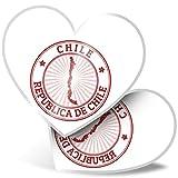 Impresionante 2 pegatinas de corazón de 7,5 cm – Republica de Chile Travel Map Fun calcomanías para portátiles, tabletas, equipaje, libros de chatarra, neveras, regalo genial #4656