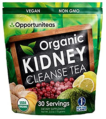 Organic Kidney Cleanse Tea - Matcha Green Tea, Cranberry, Lemon & Ginger - 4 Cleansing Superfoods For Drink, Shake, or Smoothie - Natural Detox Health Supplement Powder - Vegan & Non GMO - 30 Servings from Opportuniteas