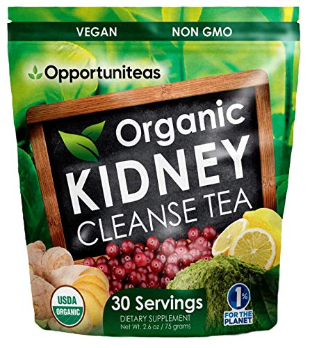 Organic Kidney Cleanse Tea - Matcha Green Tea, Cranberry, Lemon & Ginger - 4 Cleansing Superfoods For Drink, Shake, or Smoothie - Natural Detox Health Supplement Powder - Vegan & Non GMO - 30 Servings