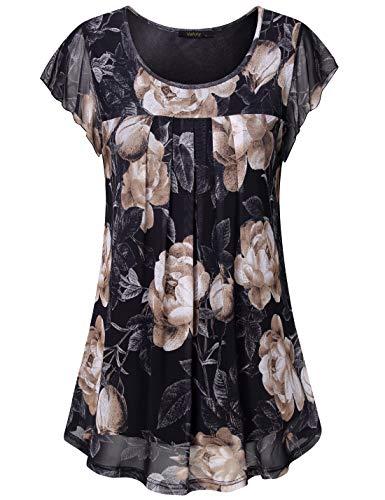 Damen Chiffon Blusentop Sommer Bluse Lose Tank Top Casual Shirt Tops Rundhals Damen Bluse Kurzarmes Rundhals Tunika mit Blumen Elegante Rundkragen Fledermausärmel Bluse Stretch (Kaffeebraun,XL