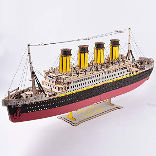 POXL Puzzle Modelos de Madera, Titanic Mecánico Modelos Construcción 3D Puzzle Kit para Adultos y Adolescentes