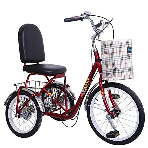 LLF Adult Bicycle Cycling 3 Wheel Bike, Three Wheel Bike Cruiser Cycling Pedal Tricycle with...