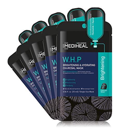 MEDIHEAL Official, W.H.P Brightening & Hydrating Charcoal Mask, No.1 Korean Sheet Mask Brand, (5 Masks)