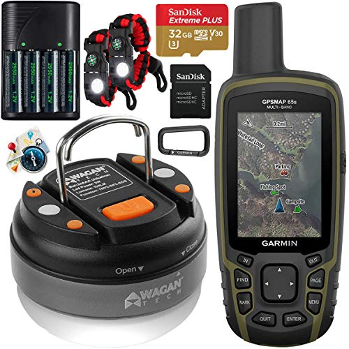 Garmin GPSMAP 65s Handheld Hiking Outdoor GPS Navigator with ABC Sensors U.S. & Canada Maps GNSS Satellite Multi-Band Rugged Bundle w/Deco Gear Emergency Bracelets + LED Lantern + Rechargeable AA Kit