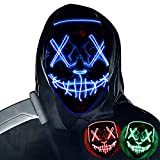 Purge Mask Light up,Halloween Mask LED Light up Masks Scary mask for Festival Cosplay Halloween Costume Masquerade Parties,Carnival,Blue