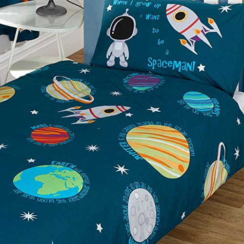 Pricerighthome Sonnensystem Junior Bettbezug und Kissenbezug Set, Universum