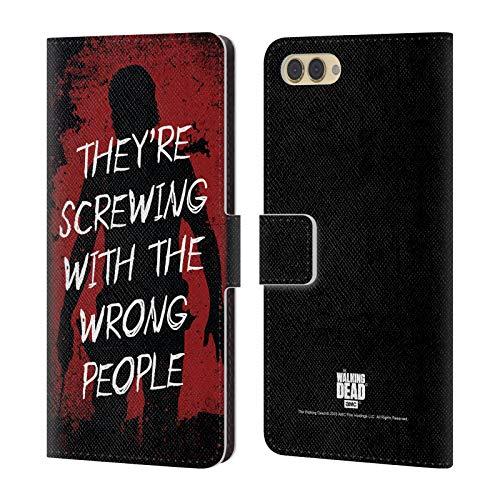 Head Case Designs Licenciado Oficialmente AMC The Walking Dead Confianza Legado de Rick Grimes Carcasa de Cuero Tipo Libro Compatible con Huawei Honor View 10 / V10