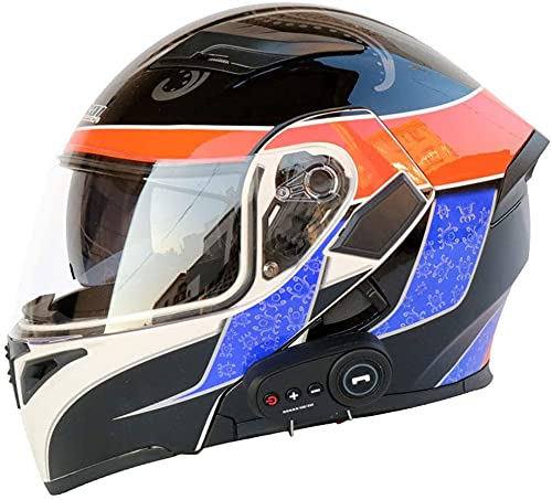 SCDJK Casco Bluetooth Multifunción Flip Helmet D.o.t Lente De Doble Capa Anti-Niebla Certificada Bluetooth Mp3