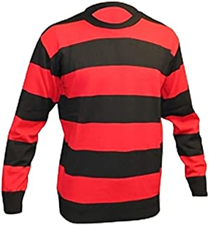Rimi Hanger Childrens Red and Black Striped Jumper Boys Girls Long Sleeve Party Wear Top 7-12 Years