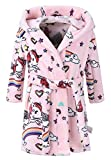 Baby Boys and Baby Girls Plush Fleece Bathrobes Hoodie (US 3T/Height 39.4', Pink Unicorn)