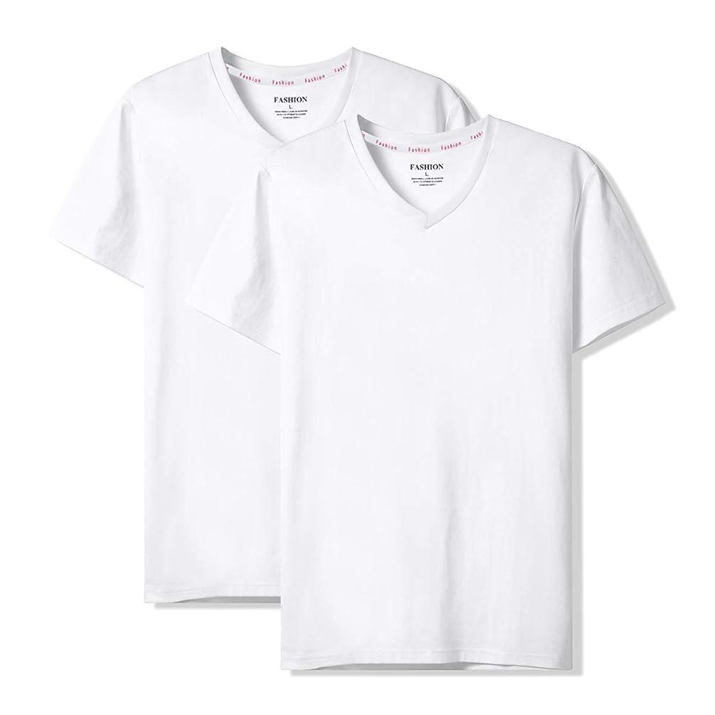 仲間アサー雪のSHANLIANG インナーシャツ メンズ 2枚組 綿100% 6.3オンス 抗菌防臭加工 半袖Vネック Tシャツ やわらか肌着 白 クセになる肌触り