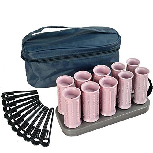 Boucle de rouleau en plastique bouclé rose grand volume rouleau électrique en rouleau en céramique (6 pièces 3cm / 4 pièces 2.5cm), 2