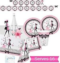 Paris Party Supplies - Plates Cups Napkins Banner Tablecloth and Centerpiece for 16 People - Perfect Paris Party Decoratio...
