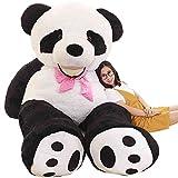 4ft Giant Panda Bear Stuffed Animal Toys with Ribbon Plush Bear for Girlfriend Gifts