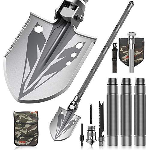 Sallia Survival Shovel, Tactical Shovel-Survival Shovel Multitool - Ultimate Survival Tool-Camping Shovel, Folding Shovel-Camping Accessories-Survival Gear (37.6in Handle, 7.08x6.30 in Shovel Head)…