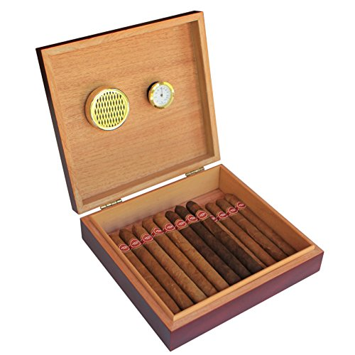 CASE ELEGANCE Cherry Finish Spanish Cedar Humidor with Magnet Seal and Humidifier Gel