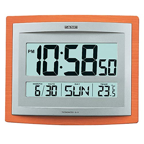 Casio Reloj DE Pared Digital Alarma, Temperatura Y Calendario ID-15S-5DF