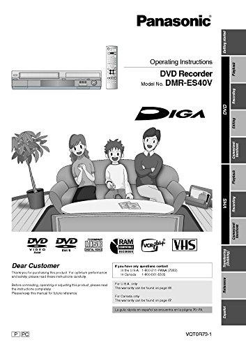 Panasonic DMR-ES40V DVD Recorder Owners Instruction Manual Reprint [Plastic Comb] Every Instruction Manual
