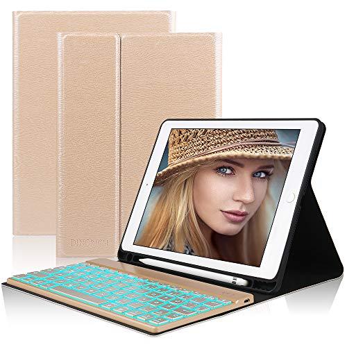 D DINGRICH Tastatur Hülle für ipad 2018, ipad 2017, ipad Pro 9.7, ipad Air 1, ipad Air 2-7 Farben Hinterleuchtet- QWERTZ Tastatur- Stifthalter- Magnetisch Schlaf/Wach- iPad Hülle mit Tastatur - Gold