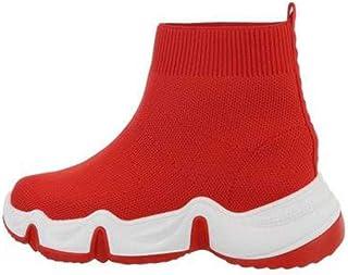 Generico Sneaker Montante, Calzini e Suola Dentata Unisex, Rosso (rosso)