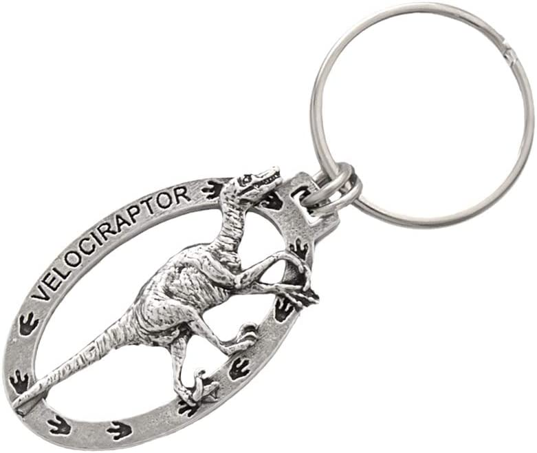 Velociraptor Dinosaur, A188KC, Keychain, Key Fob, Key Ring, Pewter Key Chain, A188KC, Handmade in the USA, Gift, Antiqued Pewter