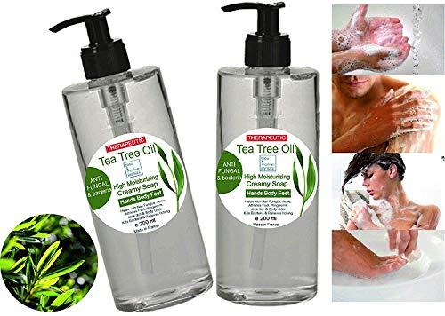 Gel desinfectante antibacteriano Jabón Pack Ahorro 2 x 200 ml Ultra Hidratante Terapéutico con Aceite de Árbol de Té Purificante Anti hongos Anti Acné Gel de Baño Gel de Ducha