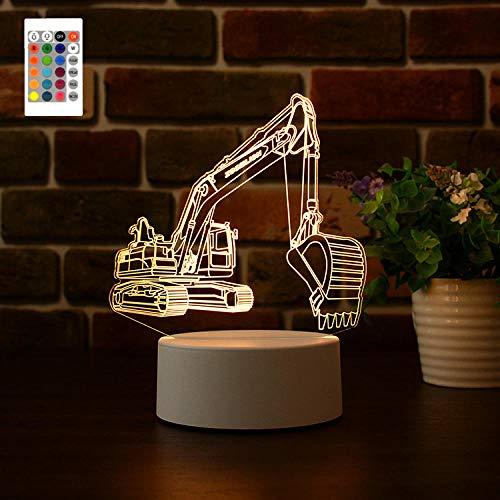 LED Bagger 3D Nachtlicht Nachttischlampe, 16 Farben Hologramm Illusionslicht Remote Smart Touch Personalisierte Geburtstagsgeschenk für Mädchen Teen Freunde