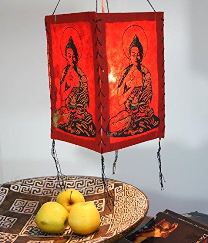 Guru-Shop Lokta Pantalla de Papel Colgante, Lámpara de Techo de Papel Hecho a Mano - Buda, Rojo, Color: Rojo, 28x18x18 cm, Lámparas de Techo Asiáticas Lámparas de Papel Tela